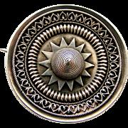 Victorian sterling silver locket back target brooch Etruscan style