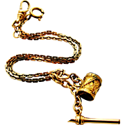 Art deco tri-color gold filled watch chain with agate drum fob