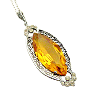 Art deco chrome paste and faceted yellow glass marquise pendant on sterling 22 inch fine chain