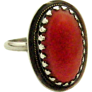 Lovely vintage sterling silver red coral dress ring.