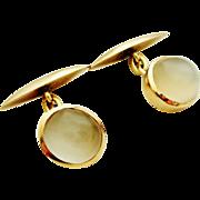 Vintage 14k chunky oval moonstone cufflinks chain link.