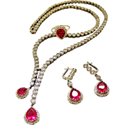 Stunning sterling silver French faux ruby/diamond parure with negligee necklace, dangling earrings and ring