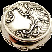 Art nouveau 800 silver compact locket or pillbox