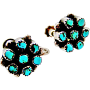 Antique steling silver screw earrings with natural turquoise