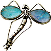 Antique sterling silver morpho butterfly wing dragonfly bug brooch
