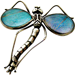 Antique sterling silver morpho butterfly wing dragonfly brooch