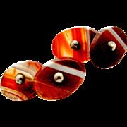 Victorian banded carnelian agate cufflinks