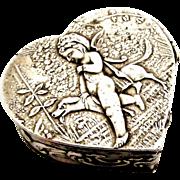 Antique European silver heart pill box cherub with dog