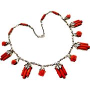 Arts and crafts to deco sterling silver coral necklace