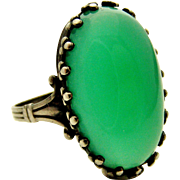 Vintage arts and crafts sterling silver cocktail ring with chrysoprase