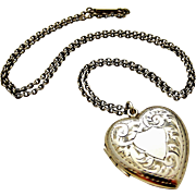 Edwardian sterling silver engraved heart locket and original chain