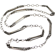 Vintage sterling silver heavy fancy chain 38 inches 1975 English import