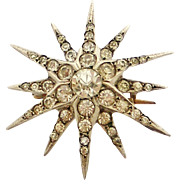 Antique Continental 800 silver paste star brooch