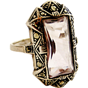 Art deco sterling silver pale amethyst and marcasite cocktail ring