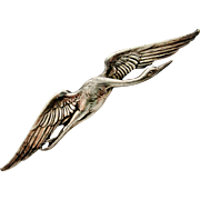 French art nouveau stork brooch in 800-900 silver