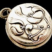 Antique French art nouveau mistletoe compact locket silver plate