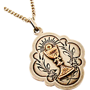 Antique French silver and rose gold chalice confirmation pendant and chain