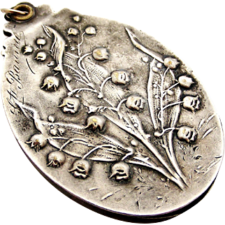 French art nouveau silver plated slide locket lily of the valley, muguet