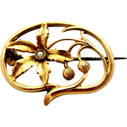 French art nouveau gold fill FIX brooch Plane tree leaf with faux pearl