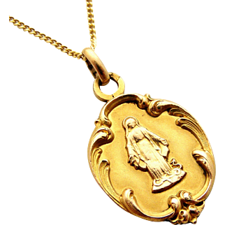 French FIX antique gold fill medal of the Virgin Mary and snake on gold filled chain