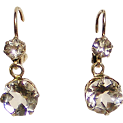 French Edwardian dormeuses double drop earrings , faceted rock crystal and 800-900 silver