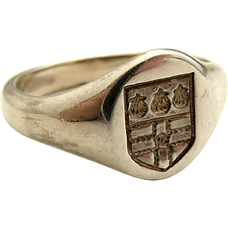 Vintage Scottish silver signet ring with heraldic crest embossed intaglio