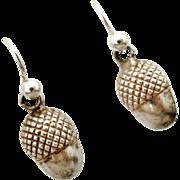 Pretty antique sterling silver acorn earrings