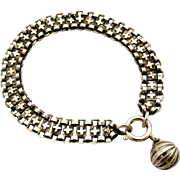 French 800-900 silver antique bracelet with ball fob