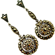 Original art deco marcasite long earrings sterling silver