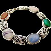 Vintage Scottish sterling silver and hard stone agate thistle bracelet