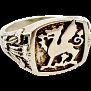 Vintage Sterling silver patriotic Welsh dragon signet ring