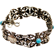 French silver plated Lourdes souvenir bracelet with faux turquoise.