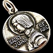 Vintage sterling silver Joan of Arc medal pendant