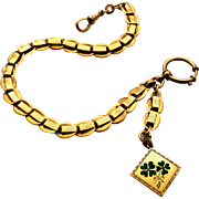 Antique gold filled watch chain with green enamel 4 leaf clover fob