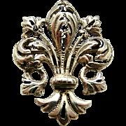 Beautiful Italian 900 silver Florence fleur de lis brooch