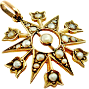 Antique English star and tulip pendant in natural split seed pearl and 9k gold.