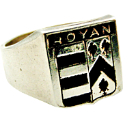 Vintage French armorial 900 silver signet ring , city of Royan, France