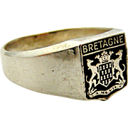 Vintage French armorial shield 900 silver signet ring , Bretagne/Brittany, France