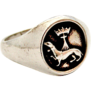 French heraldic armorial vintage 900 silver signet ring Ermine and crown