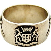 Vintage French armorial shield 900 silver band ring , Bretagne/Brittany, France