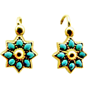 Tiny antique French dormeuse earrings in 18k gold and natural turquoise