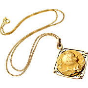 French 18k gold fill art nouveau pendant if a pretty girl, later gold filled chain.