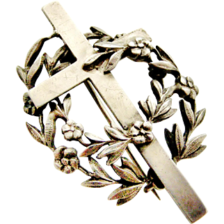 French antique 800 - 900 silver mourning brooch , cross and forget me not flowers