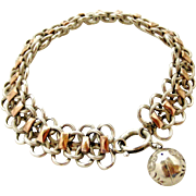 French antique 800-900 silver and rose gold bracelet
