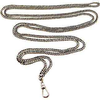 English antique sterling silver double curb long guard muff lorgnette chain