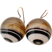 Huge Victorian banded agate bullseye round drop earrings