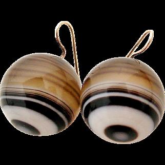 Huge Victorian banded agate bullseye round drop earrings