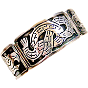 Vintage Mexican sterling silver bracelet  snake and eagle heads Hecho en Mexico