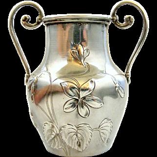 Antique French silver art nouveau urn vase with repousse violets