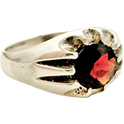 Vintage sterling silver and garnet men's solitaire gypsy ring